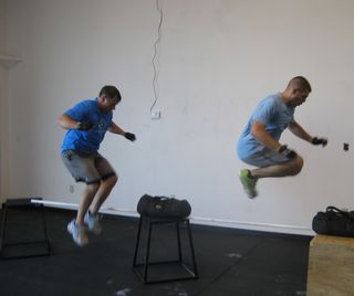 Lateral jump over pvc pipe